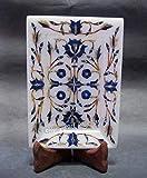 Bandeja de mármol con incrustaciones de piedra de lapislázuli de 15 x 10 cm, hermosa bandeja útil con patrón de trabajo floral