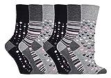 Gentle Grip - 6 pares mujer fantasia bambu calcetines sin elasticos para la circulacion (37-42 eur,...