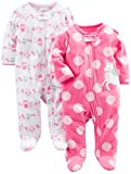 Simple Joys by Carter's Baby Girls' 2-Pack Fleece Footed Sleep and Play, Owl,Unicorn, 0-3 Months
