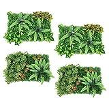 MERIGLARE Paquete de 4 Plantas Artificiales, Follaje, Setos, Alfombrilla de Césped, Paneles Verdes, Decoración, Valla de Pared
