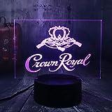 Wyjie Crown Royal Whisky Wine 3D Led Night Light Mesa Lámpara De Escritorio Home Room Office Decor Año Nuevo Navidad Regalo De Navidad