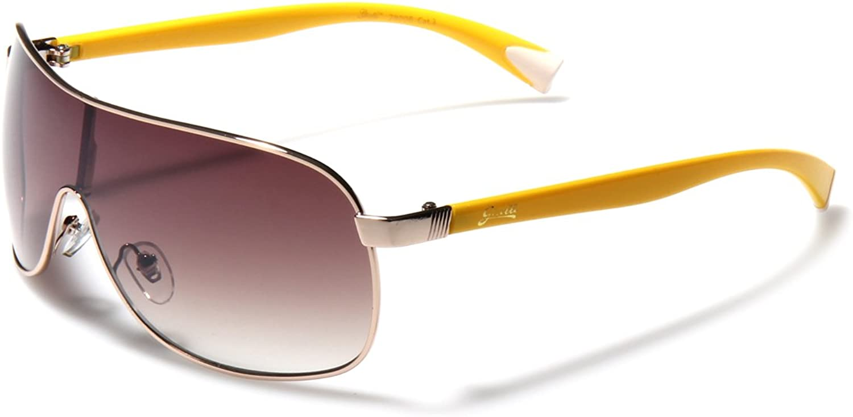 Giselle gold Metal Rim Frame Shield Aviator Sunglasses
