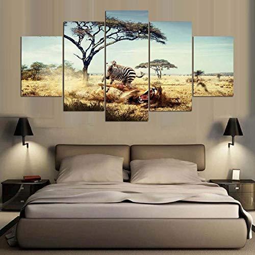 Muurkunst Voor Woonkamer Schilderij Modulair Landschap Woonkamer Studie Decoratie Schilderen Olieverfschilderij Afrikaanse Zebra Canvas Schilderij(Frameloos)