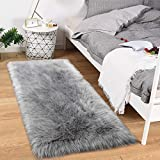 Noahas Luxury Fluffy Rugs Bedroom Furry Carpet Bedside Faux Fur Sheepskin Area Rugs Children Play Princess Room Decor Rug, 2.3ft x 5ft, Grey