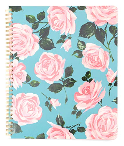 """ban.do Blue/Pink Floral Rough Draft Large Spiral Notebook, 11"""" x 9"""" with Pockets and 160 College Ruled Pages, Rose Parade"""
