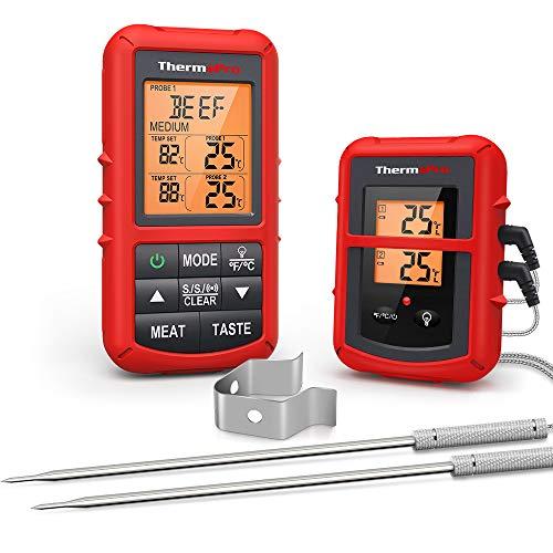 ThermoPro TP20C Termómetro Inalámbrico Digital Remoto de Cocina para Alimentos y Carne con sonda dual para ahumador Grill BBQ Termómetro