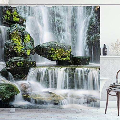 Ambesonne Waterfall Shower Curtain, Majestic Waterfall Blocked with Massive Rocks with Moss on Them Photo, Cloth Fabric Bathroom Decor Set with Hooks, 75