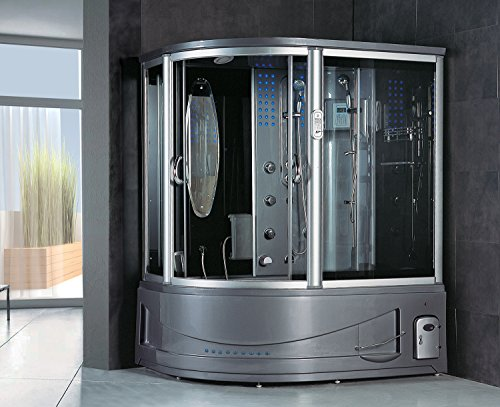 2020 Siena Computerized Steam Shower Sauna with Whirlpool Massage Bathtub Spa with Telephone & TV (Grey - Right Side)