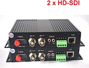 2 Channels HD SDI Over Fiber Optic Media Converters - Video Audio RS485 Ethernet to Fiber Transmitter and Receiver for HD SDI Cameras