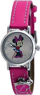 ساعة ديزني ميني ماوس للبنات بسوار وردي مخطط على شكل قلب انالوج - MCK354
