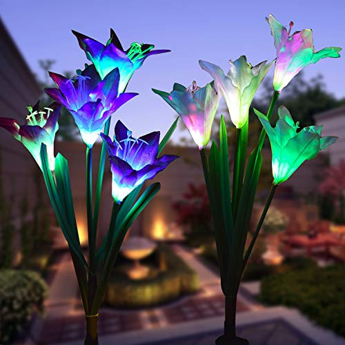 Outdoor Solar Garden Stake Lights - Wohome 2 Pack Solar Flower Lights with 8 Lily Flower,Multi-Color Changing LED Lily Solar Powered Lights for Patio,Yard Decoration, Bigger Flower and Wider Solar Panel