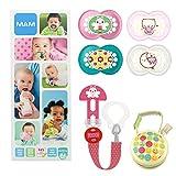 MAM Essential Soothing Set, juego de regalos para bebés de +6 meses, con 2 chupetes de silicona Original +6, 2 chupetes Night +6, chupetero y guardachupetes, NIÑA (Girl)