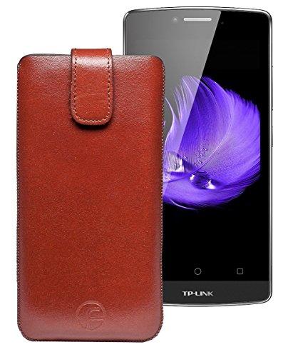 Favory Tasche Leder Etui für TP-Link Neffos C5L | ECHT Ledertasche Hülle Schutzhülle (Lasche mit Rückzugfunktion) braun
