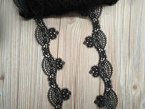 5 Yards Zwart geborduurd kantlint Kledingstuk kanten versieringen afsnijdsels DIY naai-accessoires 45 mm breed