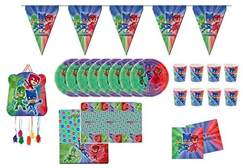 0761, feest- en verjaardagspak Pj-maskers; 1 Pj maskers pinata; 1 wimpel (3 meter), 1 plastic tafelkleed 120x180 cm, 20 servetten, 8 borden 23 cm, 8 glazen