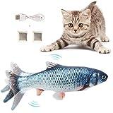 Flysee Chat Jouet Poisson, Jouet électrique Poisson avec Cataire, Chat Jouet Interactif USB en Peluche, Simulation de Peluche Chat Jouet
