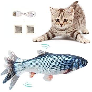 Hanbee Chat Jouet Poisson, Jouet électrique Poisson avec Cataire, Simulation de Peluche Chat Jouet, Chat Jouet Interactif USB en Peluche