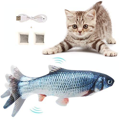 Flysee Catnip Giocattoli per Gatti, Giocattoli Elettrici per Pesci, Simulazione Peluche di Pesce, Gioco Gatto interattivo