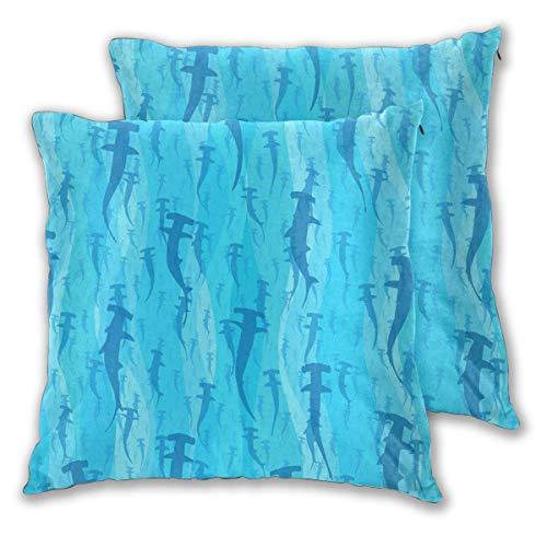 Fundas de Almohada, Fundas para Cojines de Lino Funda de Almohada Tiburones Azules Nadando Funda Cojin Decorativa de Casa para sofá Dormitorio Coche,45x45CM