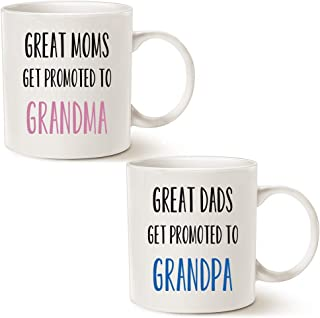 MAUAG Funny Grandparent Coffee Mug Christmas Gifts, Great Moms/Dads Get Promoted to Grandma/Grandpa Best Birthday Gifts for Grandparent Cup White, 11 Oz