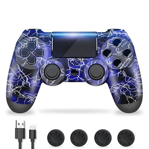 Zcity Mando PS4, Mando Inalámbrico para Playstation 4, Controlador Inalámbrico Gamepad Doble Vibración para Playstion 4, Bluetooth Joystick PS4 con Cable y Agarres para el Pulgar (Blue)
