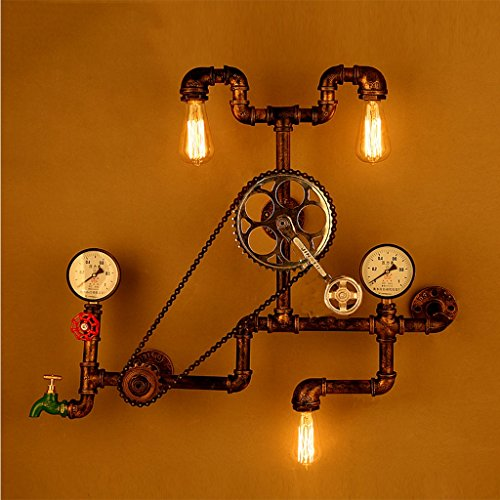 Industrie Art fiets-versnelling type driekopse wandlamp retro roest-ijzeren kraan-wiel-kunst-wandlamp E27 trap LED-bedlamp, 65 cm * 78 cm 20.04.20