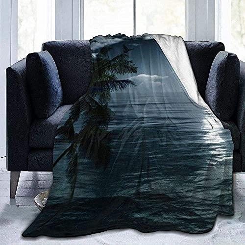 Mantas, de fácil cuidado, forro polar súper cálido, suave, versátil, manta para sofá, manta impresa de luna de mar para dormitorio, sala de estar, sofá cama, sofá de 152 x 127 cm
