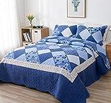 VIVILINEN 3 Teilig Bettwäsche Set 230 x 250cm Tagesdecke Bettüberwurf Patchwork Steppdecke Bettdecke für Doppelbett (Blau, 230 x 250 cm)
