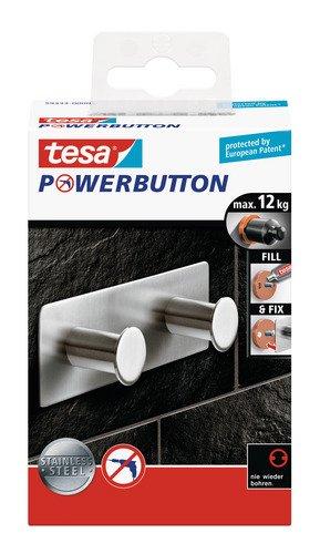 tesa Premium-Hakenleiste, selbstklebend, hält bis zu 12kg, Edelstahl