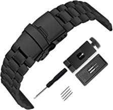 Mirror Surface Stainless Steel Watch Band 18mm 20mm 22mm 24mm Strap Metal Replacement Bracelet with Double-Button Safety Clasp for Men's Women's Watch Black Silver (Black, 18mm)