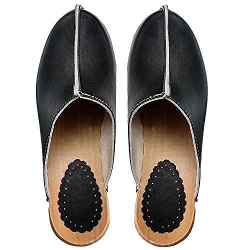 ESTRO Zuecos De Madera para Mujer Calzado Sanitario De Trabajo CDL03 (Negro, 38)