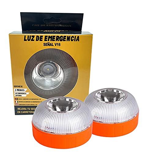 Luces LED de Advertencia de Emergencia en la Carretera, Señal de Señal Previa de Peligro Aprobada por DGT V16 Luces Intermitentes Luz de Emergencia para luz de Automóvil Averiada (2PCS(USB+batería))
