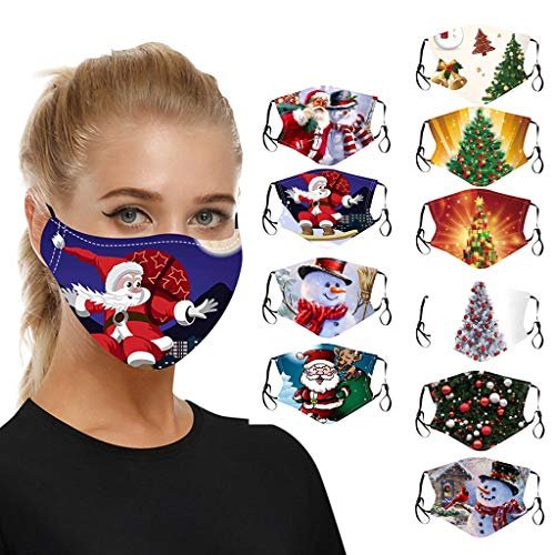 10PC Adults Reusable Christmas Face Mask-Washable Face Covering Safety Face Protection Earloop Mouth Masks for Men and Women