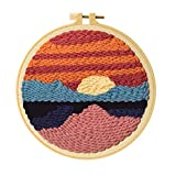 Punch Needle Embroidery Starter Kits Punch Needle Tool Threader Fabric Embroidery Hoop Yarn Rug Punch Needle, Suitable for Home Decoration (one Size)