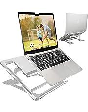 ELZO laptopstandaard, ergonomische notebookstandaard multi-hoek verstelbaar, in hoogte verstelbaar, MacBook standaard voor Dell, HP, Samsung, Lenovo alle 10 inch ~ 17,3 inch tablet zilver