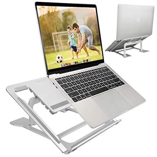 ELZO Supporto Richiudibile in Alluminio, Supporto per PC Portatile 11 -17  Pieghevole e Laptop Stand con Design Ergonomico e Stabile per iPad, MacBook Air, MacBook PRO e Altri Notebook