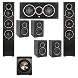 Elac 7.1 System with 2 Debut F5 Floorstanding Speakers, 1 Debut C5 Center Speaker, 4 Debut B5 Bookshelf Speakers, 1 BIC/Acoustech Platinum Series PL-200 Subwoofer