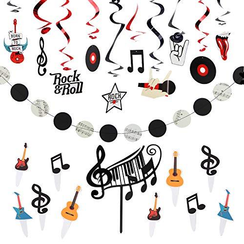 Easy Joy Decoración Kit de Cumpleaños Rock & Roll Fiesta Decoraciones con Remolinos Lámina Rock Star Música Fiesta Decoraciones para Fiestas, Tarta de Música Cumpleaños para Niñas, Hombres