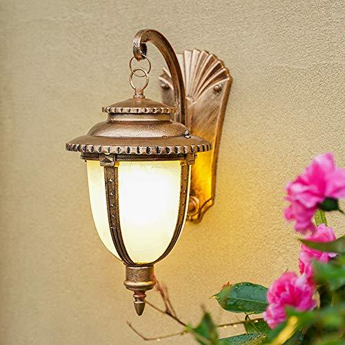 LGOO1 Lámpara de pared para exteriores de vidrio de mármol de imitación, lámpara de pared LED retro de estilo europeo, lámpara de pared impermeable vintage, lámpara de pared de metal de aluminio clási
