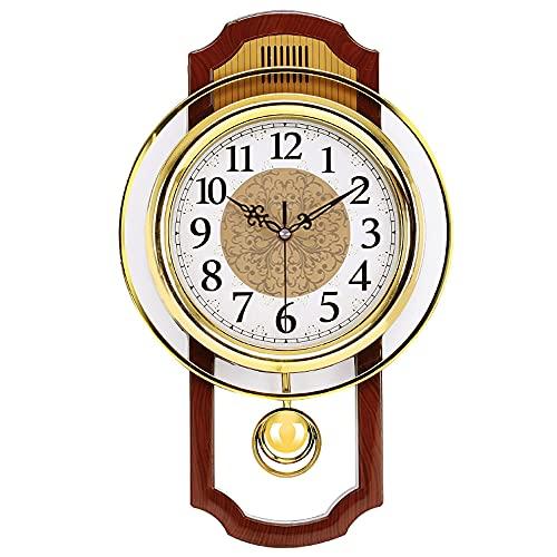 Reloj De Pared De PéNdulo Retro Para Sala De Estar, Europeo Vendimia Silencioso Balancearse Reloj De Pared Colgante, Antigualla Sin Tictac Reloj De Cuarzo De Calidad DecoracióN Hogar