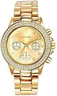 Mestige Women's Gold Dial Alloy Band Watch - MSWA3112