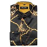 Camisa de satén con estampado de cadena de oro de estilo italiano para hombre en color negro