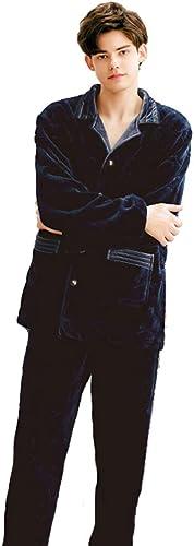 Yijiayu Pyjama pour Homme Pyjama en Flanelle Pyjama de Conception en Relief Costume de Service à Domicile (Couleur   bleu, Taille   Height 175CM XL)