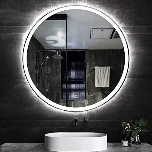Wall-Mounted Mirrors Specchio da Bagno Illuminato a LED Rotondo, Specchio da Trucco Illuminato con Interruttore a Sfioramento, 50 Cm, 60 Cm, 70 Cm, 80 Cm (Luce Bianca/Calda)