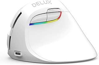DELUXエルゴノミックマウス, 充電式ワイヤレスマウス, BT4.0および2.4Gワイヤレス デュアルモード, 6ボタンおよび, 4 DPIレベル, ラップトップPCコンピュータ用のRGB人間工学に基づいたサイレントマウス 静音 垂直型(白色)