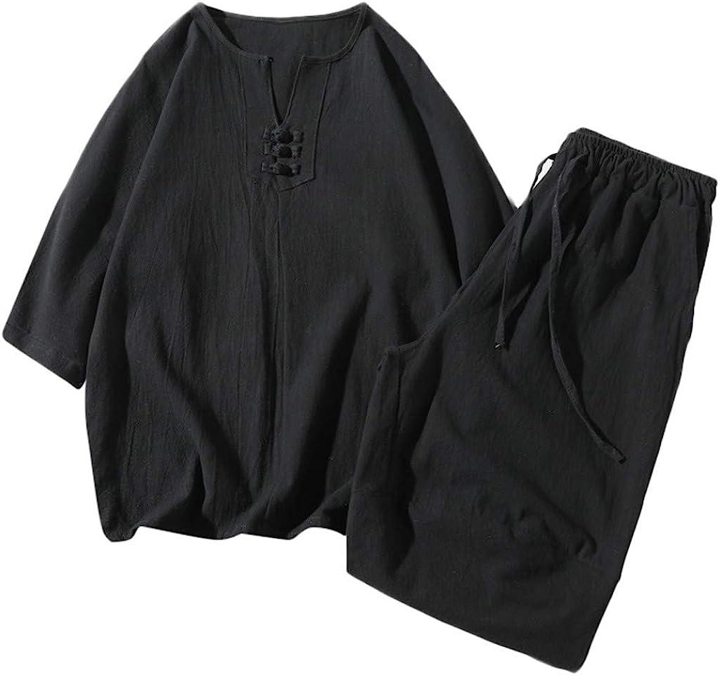 F_Gotal Ranking TOP5 Men's Two Pieces Linen Cotton Print New sales Sets Outfits S Short