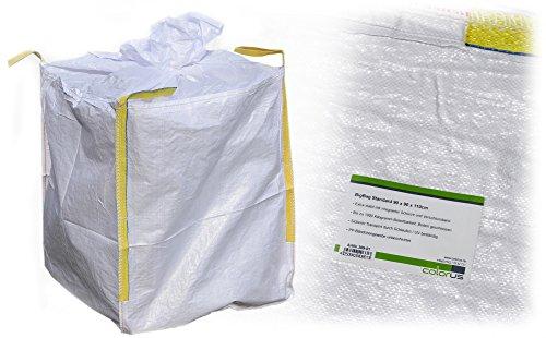 Colorus BigBag Standard Sack 90 x 90 x 110 cm | Schuttsack Entsorgungssack 1000 kg belastbar | Geschlossener Boden, 4 Hebeschlaufen, mit Verschluss-Schürze| Sandsack Steinsack