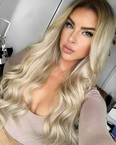 Wavy Blonde Wig Lace Front Wigs Ombre Wigs for Women Long Wavy Lace Wig Blonde Wavy Wig Platinum Blonde Hair Synthetic Replacement Wig Heat Resistant Party Wig