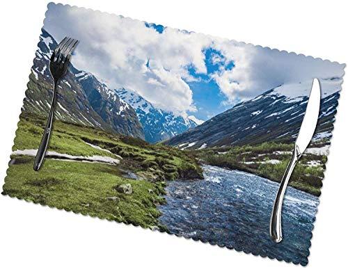 Mountains Landscape River Tischsets 4er-Set für 12x18 Zoll Esstisch Hitzebeständige waschbare Tischsets Polyester Dekorative Küchentischmatten und leicht zu reinigen