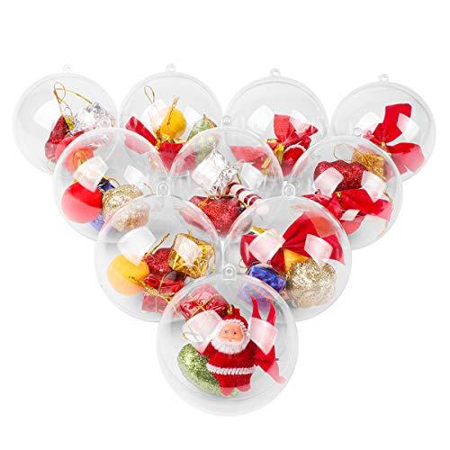 Bolas de Navidad transparentes, 15 unidades, bolas abiertas con relleno, para rellenar decoración navideña para árbol de Navidad, decoración, fiestas, cumpleaños, bodas, 3 tamaños (6/8/10 cm)